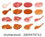 fresh and grilled meat. cartoon ... | Shutterstock .eps vector #2005474712