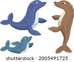cartoon seal family. seals on...   Shutterstock .eps vector #2005491725