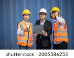 asian manager with his engineer ... | Shutterstock . vector #2005586255