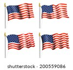 american flag on flag pole | Shutterstock .eps vector #200559086