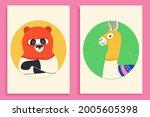 funny llama and panda wearing... | Shutterstock .eps vector #2005605398