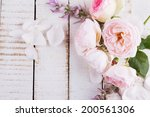 postcard with fresh flowers and ... | Shutterstock . vector #200561306