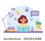 girl reading book. girl doing...   Shutterstock .eps vector #2005615688