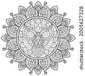 owl mandala flower for adult... | Shutterstock .eps vector #2005627328