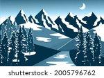 winter snow mountain peak pine...   Shutterstock .eps vector #2005796762