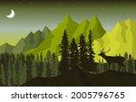 night mountain peak pine trees...   Shutterstock .eps vector #2005796765