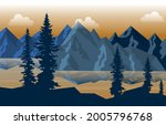 peaceful mountain lake river...   Shutterstock .eps vector #2005796768