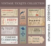 Hi quality vector tickets and coupons. Each ticket is organized in layers, separating background from art and text and graphic elements