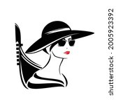 elegant woman with sunglasses... | Shutterstock .eps vector #2005923392
