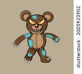 evil teddy bear mascot logo... | Shutterstock .eps vector #2005923902