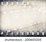 grunge scratched film strip... | Shutterstock .eps vector #200605205