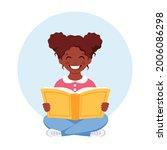 black girl reading book. girl...   Shutterstock .eps vector #2006086298