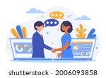 virtual deal concept. man and a ... | Shutterstock .eps vector #2006093858
