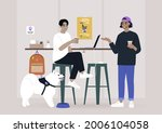 two millennials chatting at the ... | Shutterstock .eps vector #2006104058