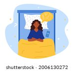 insomnia concept. woman can not ... | Shutterstock .eps vector #2006130272
