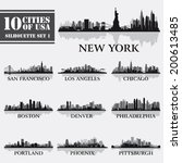 Silhouette City Set Of Usa 1 O...