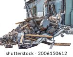 Ruins of demolished building with broken wall, debris of bricks and, broken house, isolated on white background