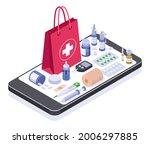isometric online pharmacy store.... | Shutterstock .eps vector #2006297885