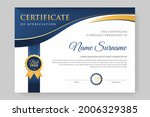 certificate design with blue... | Shutterstock .eps vector #2006329385