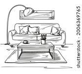living room sketch in black on...   Shutterstock .eps vector #2006369765