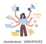 multitasking woman. versatile... | Shutterstock .eps vector #2006393252