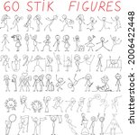 stick figure collection  set of ... | Shutterstock .eps vector #2006422448