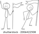 stick figure people with flag ... | Shutterstock .eps vector #2006422508