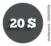 20 dollars sign icon. usd...