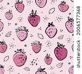 strawberry pattern  summer... | Shutterstock .eps vector #2006577368