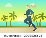 girl in sportswear jogging ... | Shutterstock .eps vector #2006626625