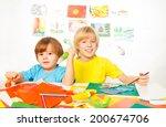 two little sibling kids sketch  ...   Shutterstock . vector #200674706