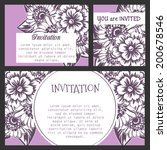 set of invitations with floral... | Shutterstock .eps vector #200678546