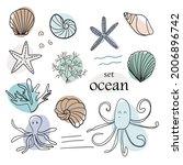 set of sea animals. starfish ...   Shutterstock .eps vector #2006896742