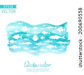vector watercolor sea... | Shutterstock .eps vector #200690558