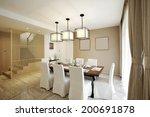 elegant house interiors  dining ... | Shutterstock . vector #200691878