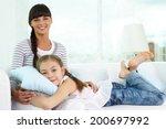portrait of happy girl and her... | Shutterstock . vector #200697992