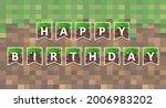 happy birthday. pixel greeting...