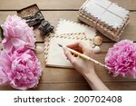 Handwritten Letters And Bouquet ...