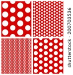 Set of seamless Polka dot background. Repeat white polka dots pattern on red background, easily edited. abstract vector art image illustration