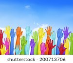 colorful hands raised with blue ... | Shutterstock . vector #200713706