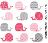 Stock vector cute pink whale 200725778