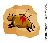 rock art. scene of bull hunt.... | Shutterstock .eps vector #2007299942