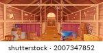 Cartoon Abandoned Barn Interior ...