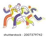 fitness runners  jogging line... | Shutterstock .eps vector #2007379742