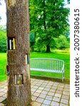 Small photo of Maison de Chateaubriand, France - July 2021: The reading corner in Maison de Chateaubriand gardens