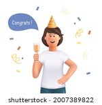 young woman jane celebrating... | Shutterstock .eps vector #2007389822