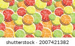 citrus seamless pattern with... | Shutterstock .eps vector #2007421382