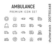 premium pack of ambulance line...