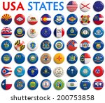 usa american states all flags   ... | Shutterstock . vector #200753858