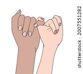 finger locked pinky promise ...   Shutterstock .eps vector #2007551282